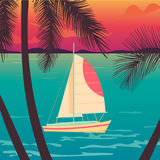 Yacht on a sunset and silhouettes of palms. Royalty Free Stock Photography