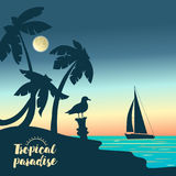 Yacht on a sunset and silhouettes of palms. Stock Photo