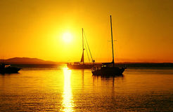 Yacht at Sunset in 1770 Stock Photos