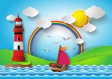 Yacht sur la mer avec l'arc-en-ciel et le phare Images libres de droits