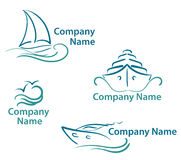 Yacht symbols. Blue yacht symbols set in line art style Stock Photos