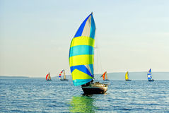 The yacht takes part in competitions in sailing Royalty Free Stock Photos