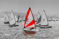 The yacht takes part in competitions in sailing Royalty Free Stock Photo