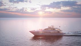 The yacht takes a walk near the islands. Beautiful sunny sunset. 3d render. 4k video