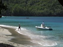 A yacht tender at lower bay beach, bequia stock footage
