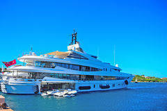 Yacht and tender in Porto Cervo harbor Stock Photos