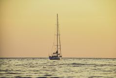 Yacht to park at the sea in the evening at Koh Payam, Thailand stock image