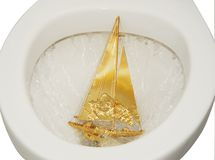 Yacht in Toilet Royalty Free Stock Image