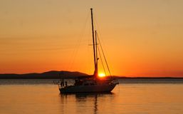 Yacht at The Town of Seventeen Seventy Australia. Seventeen Seventy, also written as 1770, is a town and locality in Gladstone Region, Queensland, Australia Royalty Free Stock Images