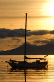 Yacht in town Ushuaia, Argentina, South America. royalty free stock images