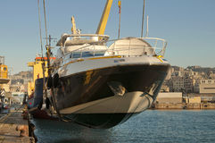 Yacht transport at port Stock Photography