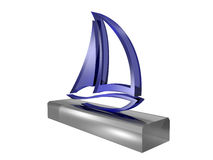 Yacht trinket. Blue glass yacht trinket isolated on white background Royalty Free Stock Images