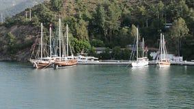 Yacht on Turkish resort. Fethiye, Turkey stock video