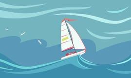Yacht under en storm vektor illustrationer