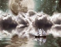 Yacht under moon Royalty Free Stock Photo