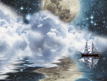 Yacht under moon. Ship in a fantastic location in the moonlight Stock Photos