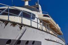 Yacht under repair in port royalty free stock photography