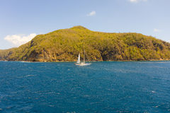 A yacht under sail in the bequia channel Royalty Free Stock Photos