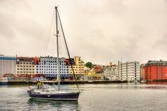 Yacht in Vagen bay of Bergen Stock Photography