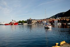 Yacht at Vagen bay Royalty Free Stock Photography