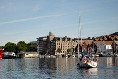 Yacht at Vagen bay Stock Photo