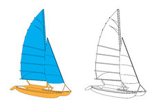Yacht -vector. Illustrated vector yacht in white background stock illustration