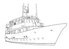 Yacht vector, contour silhouette ship  on white background, black and white drawing for coloring book. Monochrome illustration Stock Image