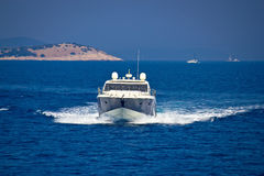 Yacht view on bule sea Stock Images