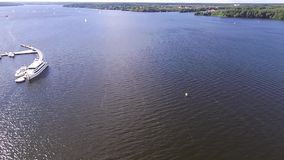 Yacht. View on a yacht from copter stock footage