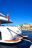 Yacht in Vittoriosa marina, Malta. Luxury yacht moored in the marina with views towards Valletta waterfront, Vittoriosa, Malta, Europe Royalty Free Stock Image