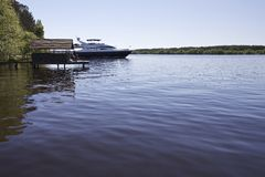 Yacht on Volga Royalty Free Stock Photography