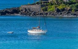 Yacht in Waimea Bay Stock Photos