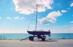 Yacht waiting. Yacht. Yacht waiting. Good day Royalty Free Stock Photos