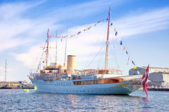 Yacht is waiting for the Queen of Denmark Stock Photography