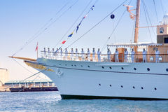 Yacht is waiting for the Queen of Denmark Stock Images
