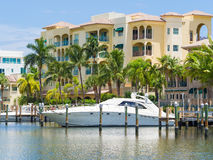 Yacht and waterfront home at Fort Lauderdale in Florida Stock Photo