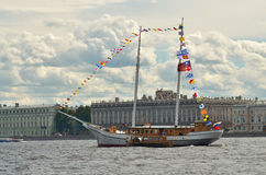 Yacht in the waters of the Neva. stock photos