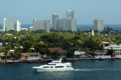 Yacht in the waterways of Ft Lauderdale Stock Photos