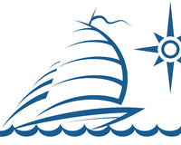 Yacht on the waves. Silhouette of the yacht on waves for the vector vector illustration
