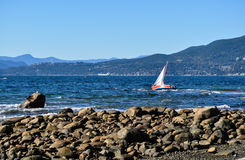 Yacht went aground at the English bay in Vancouver. Canada royalty free stock photo