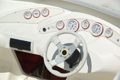 Yacht wheel and panel Royalty Free Stock Photos