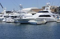 The YACHT. The white color of the Yacht docked at the New Port Beach with modern houses on the background Stock Photo