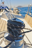 Yacht winch on the deck Royalty Free Stock Photos