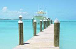 Yacht at the wooden jetty Stock Image