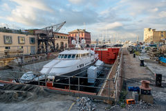 Yacht in the work. Yacht to work in dry dock Stock Photos