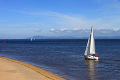 Yacht in Wyre Estuary at Fleetwood. Stock Image