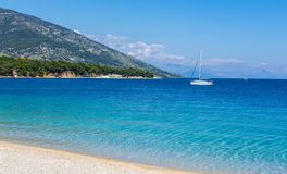 Yacht at Zlatni Rat beach, Croatia Royalty Free Stock Photo