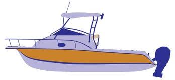 Yachtbootslieferungs-Schattenbildumreiß stock abbildung