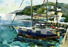 Yachtclub sea landscape in Yalta, Crimea Stock Photos