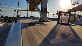 Yachtdäck Arkivbild